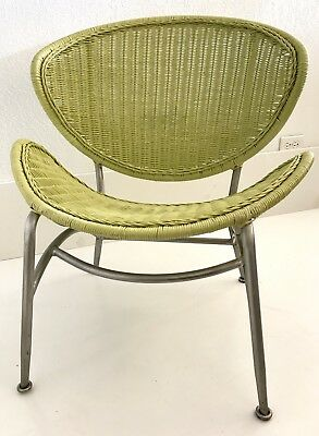 VTG Wicker Chair Mid Century MCM Rattan Saucer Sputnik Scoop Atomic Green Metal