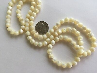 """30"""" Strand - 100 pcs - Vintage 8mm & 6mm Off White Round Natural Shell Beads"""