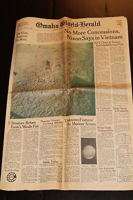 Vintage Omaha World-Herald Footprints on the Moon, President Nixon July 30, 1969