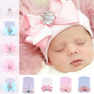 Newborn Toddler Kids Baby Boy Girl Turban Cotton Warm Bow Beanie Hat Winter Cap