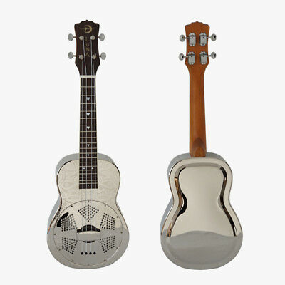 LUNA Brand Sandblasted Gloss Chrome Finish Brass Body Concert  Resonator ukulele