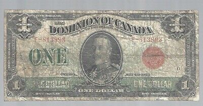 Canada 1923 Dominion of Canada $1 KGV S/N#3893