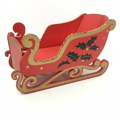 Christmas Sleigh Wood Folding Vintage Japan Collapsible Card Holder Sled