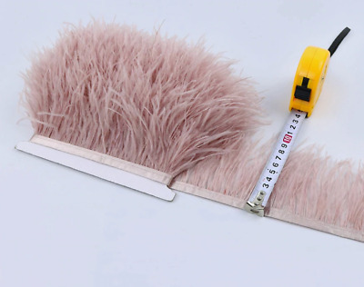 NEW! Dusty Pink Ostrich Feather Fringe Ribbon Trim Price for 30cm DIY Craft