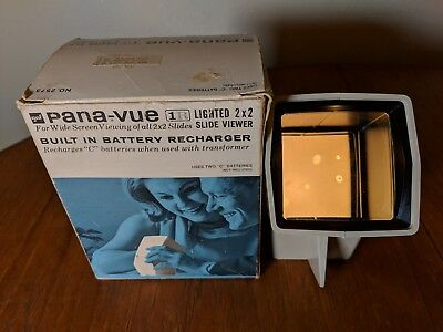 Vintage GAF Pana-Vue 1R 2 x 2 Lighted 35mm Film Slide Viewer Original Box & Plug