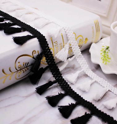 Black 4.2mm Trim Tassel Fringe Cotton Lace Ribbon Price per 30cm DIY Craft
