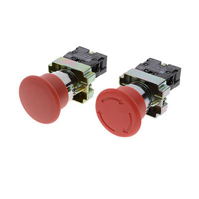 22mm NC Red Mushroom Emergency Stop Push Button Switch 10A 9UK