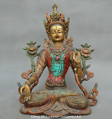 Collect Chinese old bronze inlay jewel carve Kwan-yin Guanyin Goddesses statue