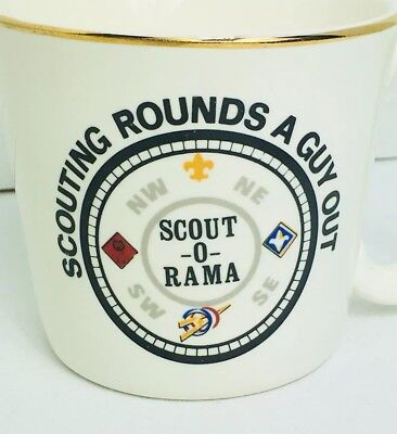 Vintage Boy Scouts BSA Coffee Cup Mug - Scouting Rounds A Guy Out
