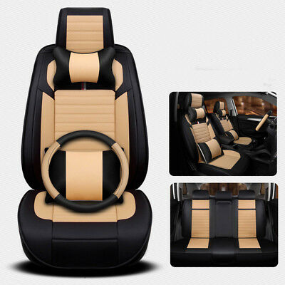 Microfiber Leather car Seat Cover 5-Seat SUV Front+Rear+Steering Wheel Full Set