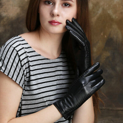 Women Gloves PU Leather Autumn Winter Warm Touch Screen Ladies Outdoor Driving