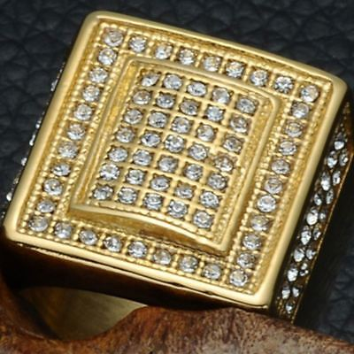 18K IP Gold Plated 316L Stainless Steel CZ AAA Crystal Men's Iced Out Pinky Ring