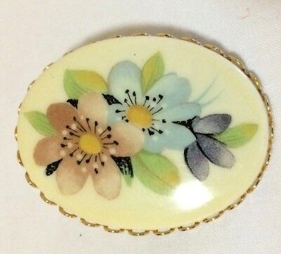 ANTIQUE VINTAGE PETITE HAND PAINTED PANSY FLOWER BROOCH PIN Untested - STUNNING