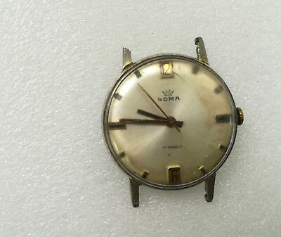 """Vintage Roma 17 Jewel Swiss Date Watch with Black Leather Strap """"VGC & Working"""""""