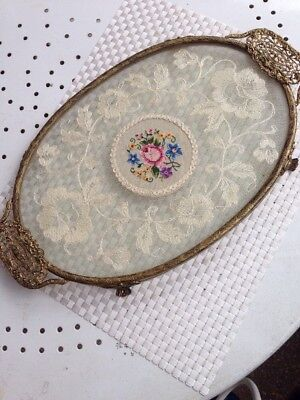 Glass Covered Lace  Petit Point Tray
