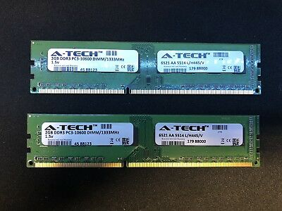 4GB (2 Sticks) DDR3 PC3-10600 DIMM 1333MHz 1.5v RAM