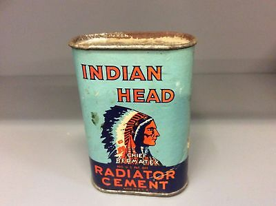 Vintage Indian Head Chief Permatex Radiator Cement Tin Canister