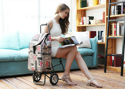 D163 Rugged Aluminium Luggage Trolley Hand Truck Folding Foldable Shopping Cart