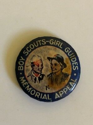Boy Scouts Girl Guides MEMORIAL APPEAL TIN BACK BADGE