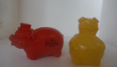 2 Vintage Advertising Plastic Piggy Banks - The First National Bank of Rockford