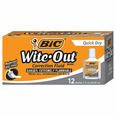 BIC Wite Out Brand Quick Dry Correction Fluid, 12-Count