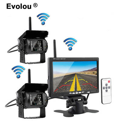 """Wireless 7"""" Monitor 2x Rear View Backup System Camera Night Vision For Bus Lorry"""