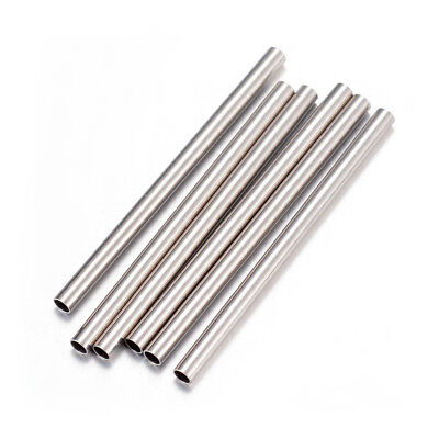 Wholesale 304 Stainless Steel Straight Tube Beads Smooth Noodle Spacers 10~30mm
