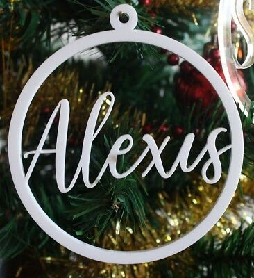 Personalised Laser Cut Christmas Bauble Decoration Name Acrylic Gift