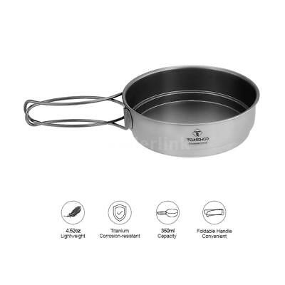 Ultralight Titanium Frying Pan W/Silicone Cleaning Brush For Hiking Camping E2V0
