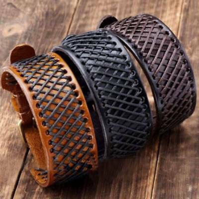 Punk Hemp Braided Genuine Leather Men Wristband Bangle Bracelet