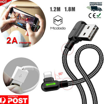 AU MCDODO 90 Degree Elbow 2A Lightning Charging Cable For iPhone XS MAX X 8 7 6