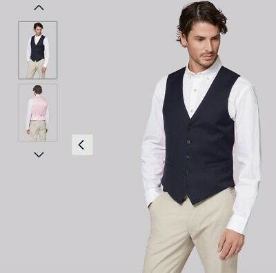 Moss Bros Tailored Fit Navy Waistcoat with pink back (Brand New in wrapper), 40R