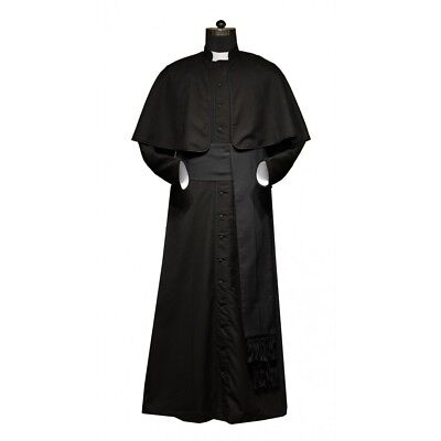 Roman style Black Cassock with Black Trims and Cincture