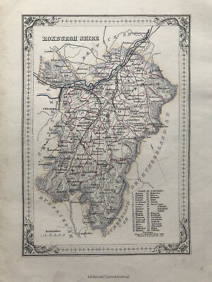 Antique Map ROXBURGH SHIRE by A Fullarton 1875 Scotland Parishes outline color