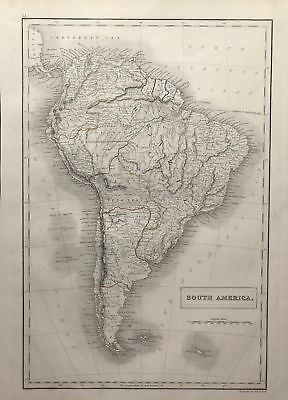 Map SOUTH AMERICA c1843, Black's General Atlas of World, VGC, engraved, color