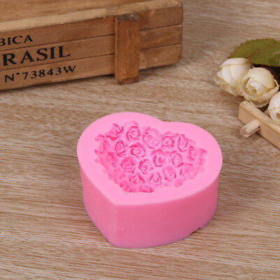 DIY 3D Silicone Mold Mould Handmade Soap Candy Baking Tool Heart-shaped Rose