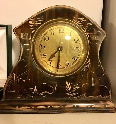 Celluloid Tortoise Shell Small Vintage Clock