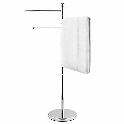40 Inch Standing Stainless Steel Bathroom/Kitchen Towel Rack Stand w/ 3 Arms
