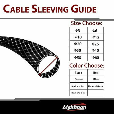 (Black) Expandable Braided Cable Sleeving Sleeve Wire Weave Electical Insulation