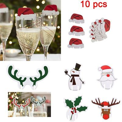 10pcs Christmas Santa Hat Table Red White Place Cards Name Wine Glass Decoration