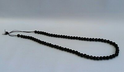 Vtg Victorian French Jet Choker Carved & Faceted Glass Bead Mourning Necklace