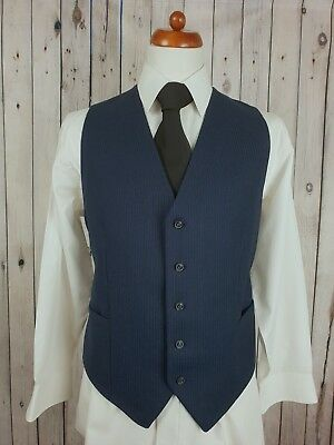 Vtg Mens 1980s Single Breast Blue Pinstripe Wool Waistcoat -42- HB72
