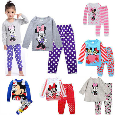 Kids Baby Girls Mickey Minnie Mouse Sleepwear Outfits Pyjamas Pjs Age1 - 7 Yrs