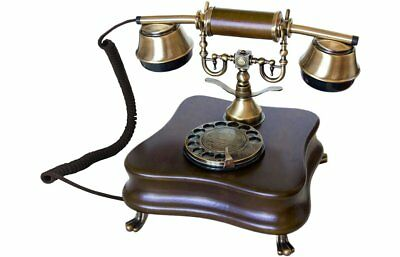 Phone Fixed Design Vintage wood Antique Retro with Cable and Disk Marking