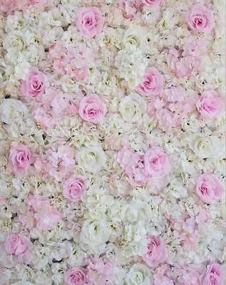 Artificial Flower Wall Panels Rose Hydrangea Wedding Background Decor-White pink