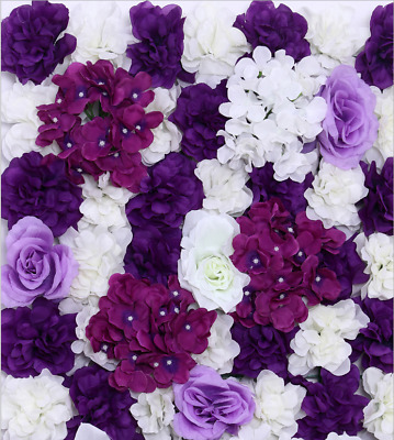 Artificial Flower Wall Panels Rose Hydrangea Wedding Background Decor-dark purpl