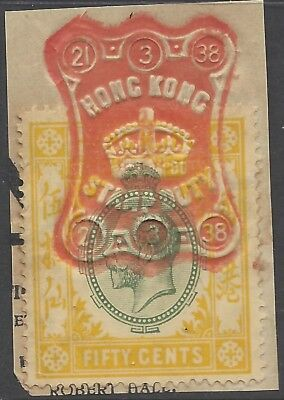 Hong Kong KGV 50c STAMP DUTY ON PIECE, FULL RED CANCEL 21/3/38 (k)