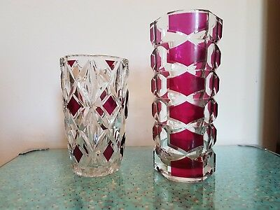 2 Vintage/Retro J.G. Durand French Geometric Red/Clear Iconic Art Glass Vases