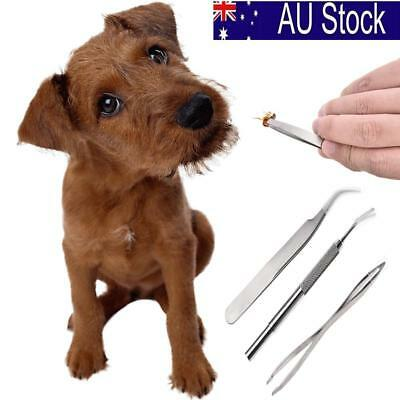 3Pcs Pet Dog Cat Stainless Steel Tick Remover Kit Tweezers Tick Removal Tool AU