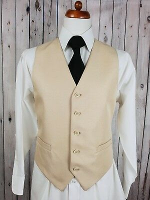 Vtg Mens 1980s Single Breast Champagne Waistcoat -40- HB76